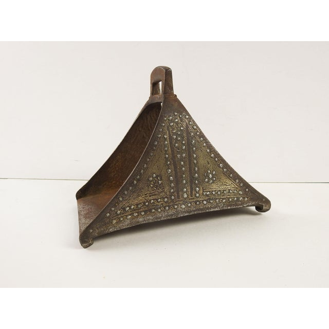 Islamic Antique Turkish Ottoman Silver Brass Inlay Iron Stirrup For Sale - Image 3 of 8