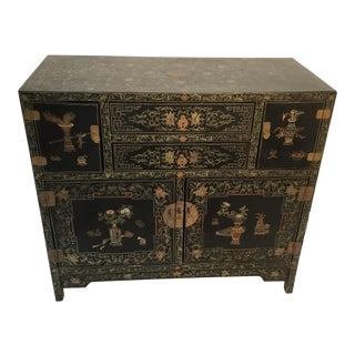 19th Century Asian Antique Hand Painted Lacquer Cabinet For Sale