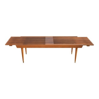 1960s Mid Century Modern Expandable Slat Bench For Sale