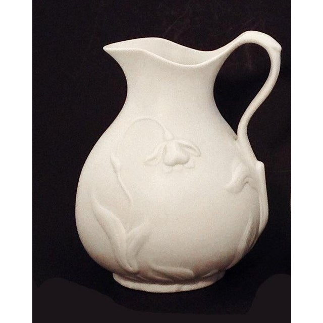 1990s Vintage White Matte Bisque Pitcher For Sale - Image 4 of 4