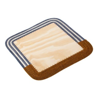 Square Sisal & Wood Stripe Placemat Tobacco/Ink/Cream For Sale