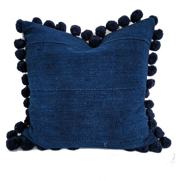 Solid Indigo Mudcloth Pom Poms Pillow - Image 1 of 6