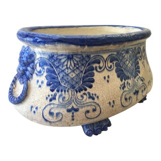 Italian Handmade Pottery Centerpiece Bowl For Sale