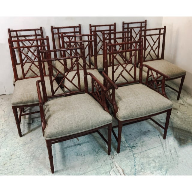 Linen Century Faux Bamboo Chairs - Set of 10 For Sale - Image 7 of 7