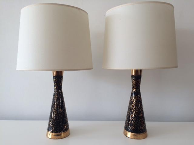 Vintage mid century black and gold ceramic table lamps a pair image 2 of