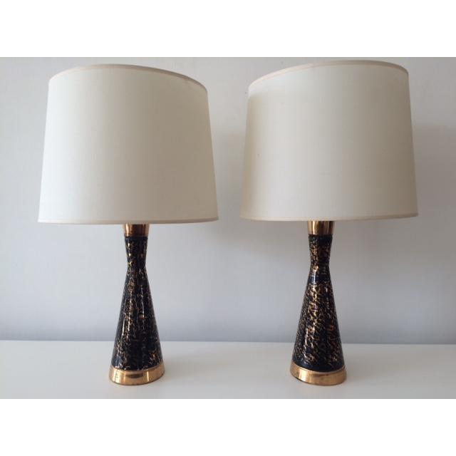 Vintage mid century black and gold ceramic table lamps a pair vintage mid century black and gold ceramic table lamps a pair image 2 of mozeypictures Images