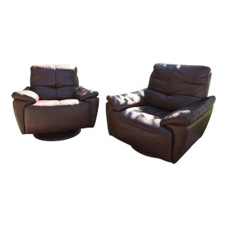 Violino Brown Leather Chairs - a Pair