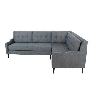 Genova Mid-Century Style Sectional Sofa Grey For Sale