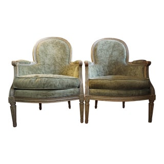 Pair of 19th Century Louis XVI Bergeres For Sale