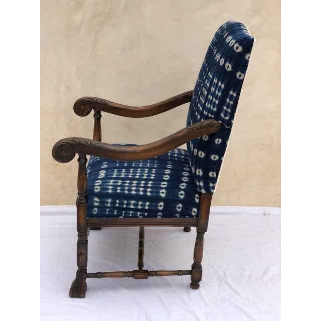 Cotton 19th Century French Oak Carved Armchair W/ Mali Indigo Textile For Sale - Image 7 of 13