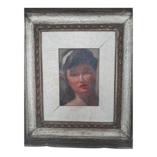 Vintage Art Deco Portrait of a Woman For Sale
