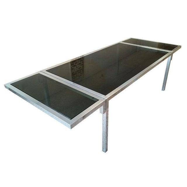 Vintage Aluminium & Smoked Glass Dining Table - Image 1 of 5