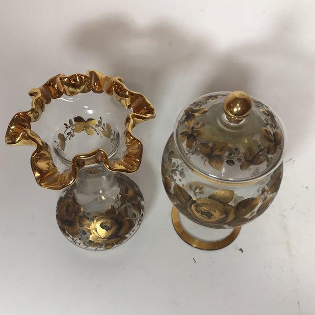 Hand Painted Crystal Jar & Vase - Image 2 of 7