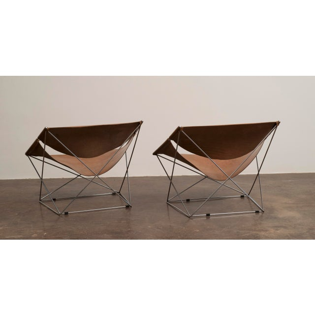 Mid-Century Modern Pair of Pierre Paulin Butterfly Chairs in Original Leather, France, 1963 For Sale - Image 3 of 12