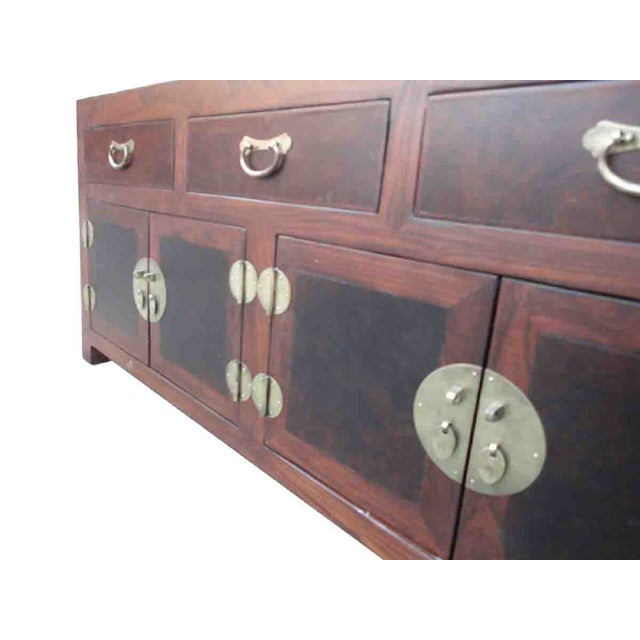 Oriental Elm Burlwood Low TV Stand Cabinet For Sale - Image 4 of 5