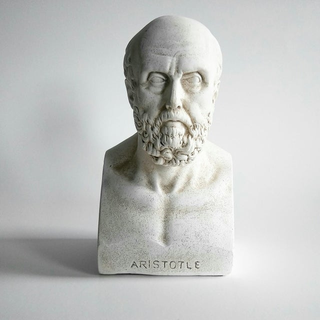 Mediterranean 1960s Vintage Grecian Plaster Statue Aristotle Bust For Sale - Image 3 of 6