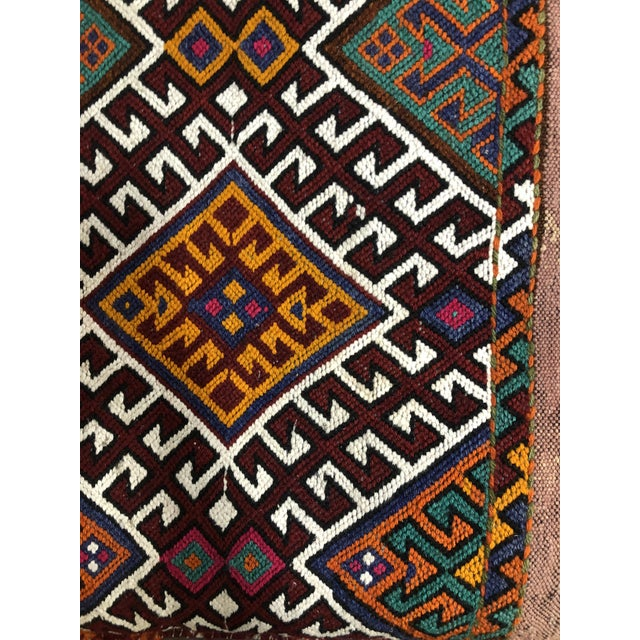 Boho Chic Turkish Kilim Floor Cushion For Sale - Image 3 of 11