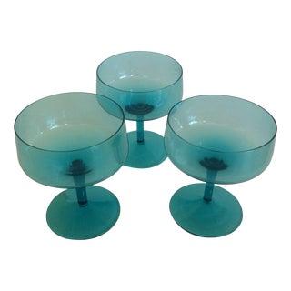 Blue Champagne Glasses - Set of 3