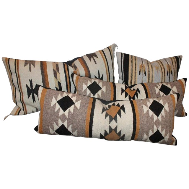 Chinle Navajo Indian Weaving Pillows - Collection of 4 For Sale