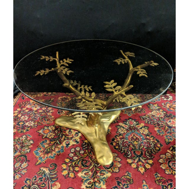 Willie Daro Inspired Mid Century Modern Brass Tree Leaves Glass Top Table Set of 2 For Sale - Image 9 of 9