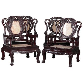Chinese Figural Mother of Pearl Inlaid Carved Hardwood Marble Chairs - Set of 4 For Sale