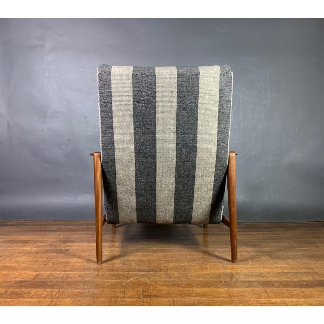 1960s 1960s Scandinavian Striped-Wool & Walnut Lounge Chair For Sale - Image 5 of 9