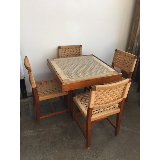 Super rare unique mid century Jute Danish cord square dining table with 4 matching dining chairs. The table has a glass...