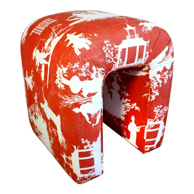 Red Mid-Century Kagan Style Waterfall Bench Stool in Vintage Red Reverse Toile Chinoiserie Linen For Sale - Image 8 of 8
