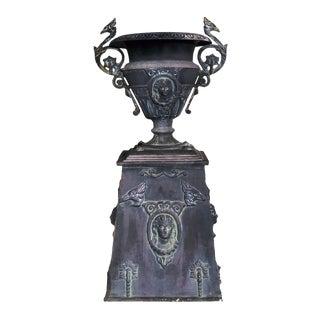 1990s Vintage Cast Aluminum Victorian Style Garden Urn Planter For Sale