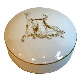 Vintage Gold Trim Ceramic Powder Box With Afghan Hound For Sale