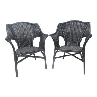 Black Wicker Side Chairs - A Pair