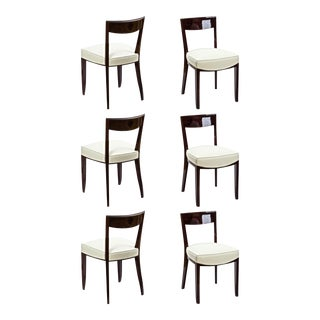 Jules Leleu Exceptional Set of Six Curved Mahogany Dinning Chairs For Sale