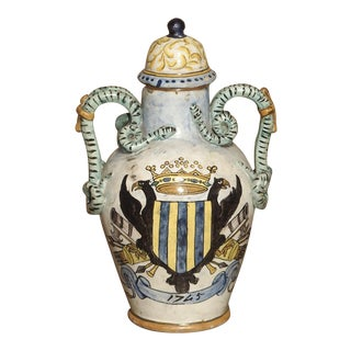 Antique Hand Painted Majolica Vase From Umbria, Circa 1870 For Sale