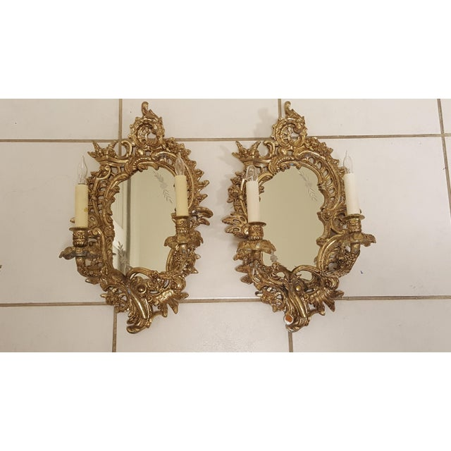 Antique Louis XVI Etched Gold Gilt-Bronze Mirrored Candelabra Wall Sconces - a Pair For Sale - Image 13 of 13