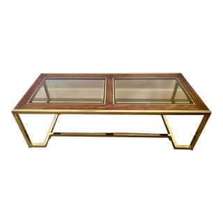Vintage Century Furniture Company Burled Wood & Plated Brass Rectangular Coffee Table For Sale