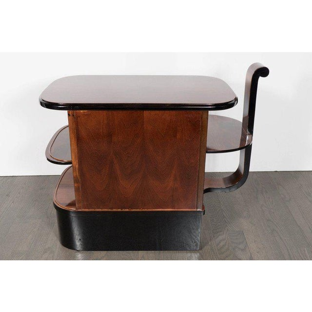 Silver Streamlined Art Deco End Table or Dry Bar Cabinet in Book-Matched Exotic Walnut For Sale - Image 8 of 10