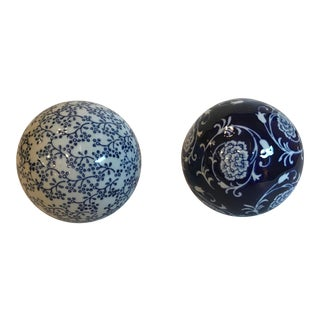 Vintage Blue and White Ceramic Carpet Balls - Set of 2 For Sale