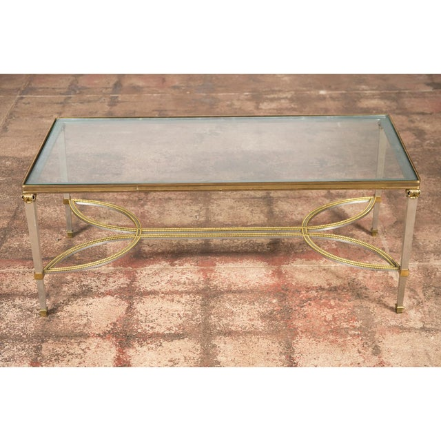 Hollywood Regency Mix Metal Bronze Coffee Table For Sale - Image 7 of 9