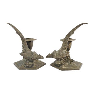 1930s Silverplate Pheasant Candleholders - a Pair For Sale