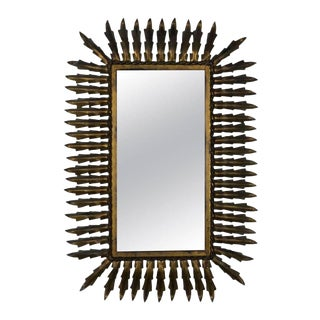 Spanish Gilt Metal Rectangular Sunburst Mirror