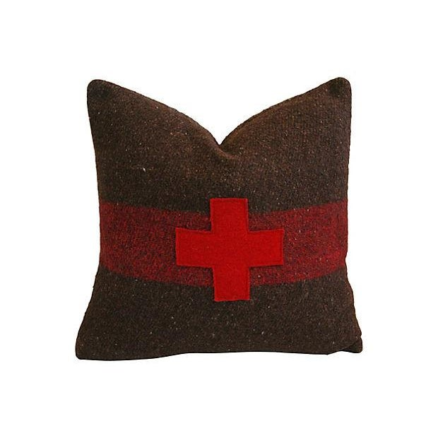 Swiss Appliqué Red Cross Wool Pillow - Image 1 of 2