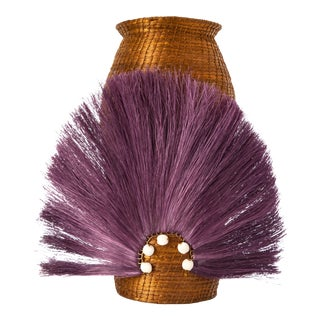 Fanned Out Sisal Vase Small Tall Tobacco/Eggplant For Sale
