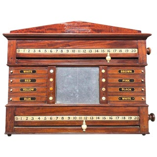1920s English Traditional Mahogany Snooker or Billiard Pool Table Scoring Cabinet For Sale