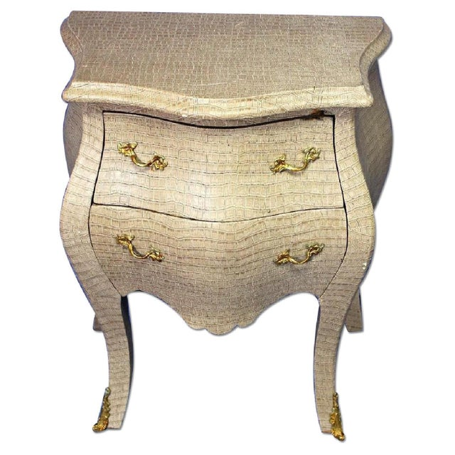 Louis XV Faux Crocodile Skin Bombe Nightstands - Image 1 of 8