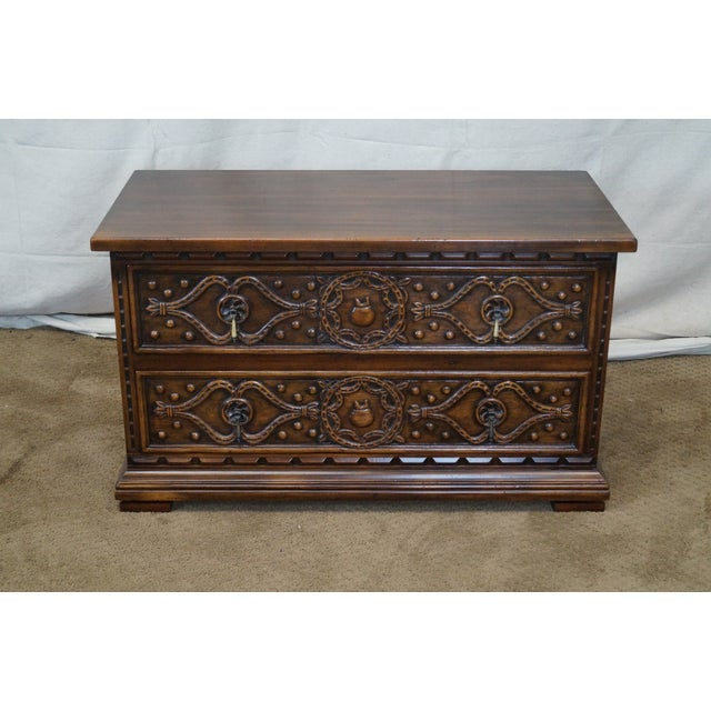 """Vintage walnut low chest with 2 dovetailed drawers, carved drawer fronts & brass hardware. Made by, """"Widdicomb""""...."""