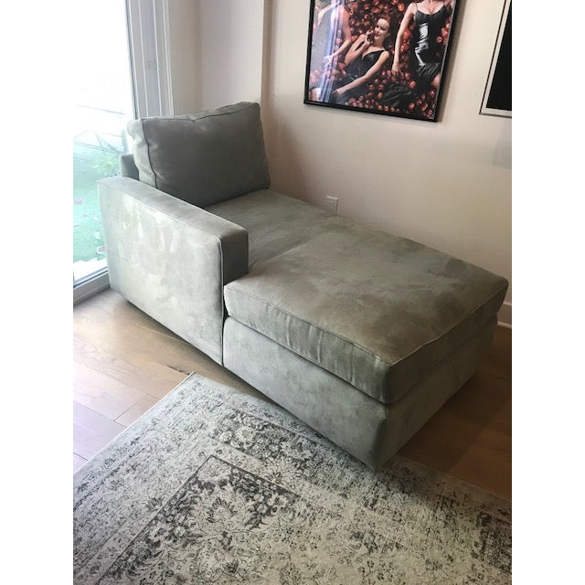 2010s Room and Board Suede Chaise Lounge For Sale - Image 5 of 10