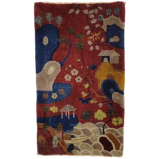 Early 20th Century Antique Chinese Art Deco Pictorial Rug - 2′2″ × 3′9″ For Sale