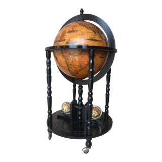 Art Decó Style Globe Cocktail Black Ebonized Cabinet Dry Bar For Sale