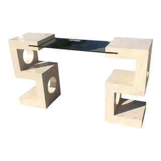 Postmodern Tessellated Stone and Glass Console Table For Sale