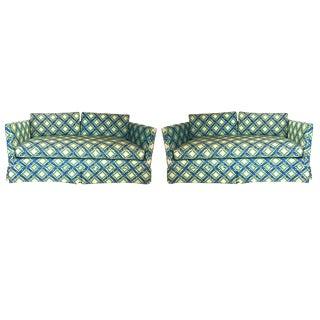 Pair of Regency Chinoiserie Tuxedo Settees in Lattice Bamboo Upholstery For Sale